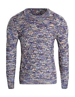 Normal Pullover Fritid/hverdag Enkel Herre,Regnbue Rund hals Langermet Polyester Vinter Medium Mikroelastisk