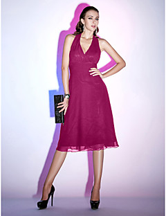 billiga Den lilla svarta-A-linje Halterneck Telång Chiffong Den lilla svarta Cocktailfest Klänning med Veckad av TS Couture®