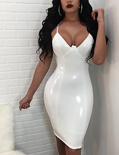Women's Party Club Simple Sexy Bodycon Dress,Solid Strap Mini Sleeveless PU Summer Fall Mid Rise Micro-elastic Medium