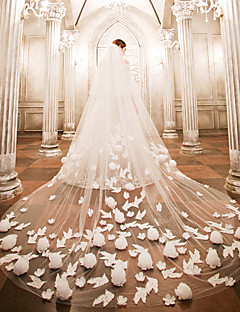 cheap Wedding Veils-Two-tier Wedding Veil Cathedral Veils 53 Appliques Lace Tulle