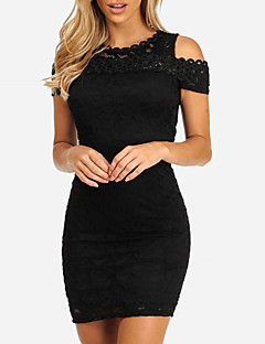 Women's Party Club Sexy Street chic Bodycon Dress,Patchwork Round Neck Mini Short Sleeves Polyester Summer Fall Mid Rise Micro-elastic