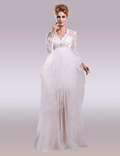 olcso -Báli ruha V-nyakkivágás Aszimmetrikus Csipke Szatén Tüll Esküvői ruha val vel Gyöngydíszítés Csipke által Nameilisha