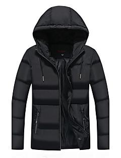 コート レギュラー パッド入り メンズ,カジュアル/普段着 プラスサイズ ソリッド ポリエステル ポリエステル-シンプル 長袖