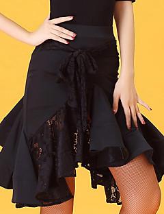 cheap Latin Dance Wear-Latin Dance Women's Performance Ice Silk Lace Ruffles High Skirts