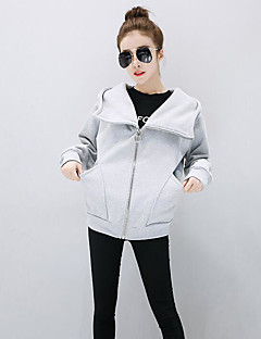 Women's Casual/Daily Simple Hoodie Solid Hooded Micro-elastic Cotton Long Sleeve Fall