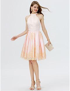 baratos Vestidos de Formatura-Princesa Ombro a Ombro Curto / Mini Renda / Cetim Color Block Coquetel Vestido com Detalhes em Pérolas / Pregas de TS Couture®