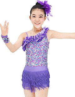 Jazz Outfits Women's Children's Performance Elastic Elastane Sequined Lycra Pleated Tassel(s) Paillette Sleeveless Natural Skirts Leotard