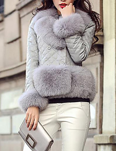 Women's Going out Street chic Winter Fur Coat,Solid V Neck Long Sleeve Short PU Fox Fur