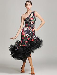 Latein-Tanz Kleider Damen Aufführung Samt Ärmellos Normal Kleid