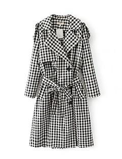 Damen Hahnentrittmuster Einfach Lässig/Alltäglich Trench Coat,Hemdkragen Winter Lang Baumwolle