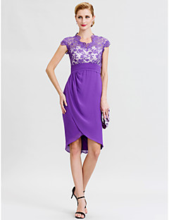 cheap Mother of the Bride Dresses-Sheath / Column V-neck Asymmetrical Chiffon Lace Mother of the Bride Dress with Sash / Ribbon Pleats by LAN TING BRIDE®
