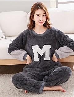 baratos Pijamas Femininos-Mulheres Decote Redondo Conjunto Pijamas - Estampado, Sólido
