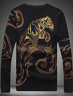 billige Hættetrøjer og sweatshirts til herrer-Herre Uld Pullover Trykt mønster Rund hals