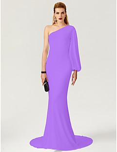 billiga Kändisklänningar-Åtsmitande Enaxlad Svepsläp Jersey Formell kväll / Smokinggala Klänning med / av TS Couture®