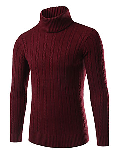 Men's Daily Plus Size Casual Regular Pullover,Solid Turtleneck Long Sleeves Polyester Spandex Others Winter Fall Medium Micro-elastic
