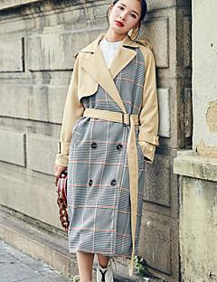 Damen Einfarbig Verziert Einfach Lässig/Alltäglich Trench Coat,Hemdkragen Herbst Lange Ärmel Lang Baumwolle Polyester
