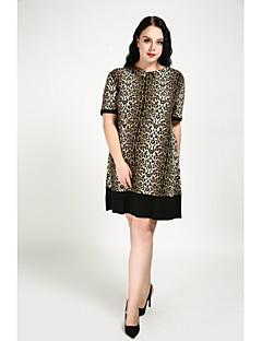 5b41e04777 Women s Plus Size Daily Shift Dress - Leopard Fall Cotton Light Brown XXXXL  XXXXXL XXXXXXL