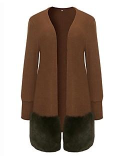 tanie Swetry damskie-Damskie Rozmiar plus Rozpinany - Patchwork, Jendolity kolor Długi rękaw