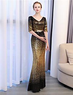 billige Paljettkjoler-Havfrue V-hals Ankellang Paljetter Formell kveld Kjole med Paljetter av Embroidered Bridal
