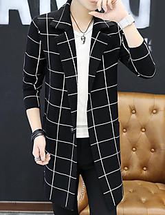 billige -Normal Cardigan Fritid/hverdag Enkel Herre,Stripet Skjortekrage Langermet Polyester Høst Medium Mikroelastisk