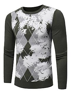 tanie Męskie swetry i swetry rozpinane-Męskie Rozmiar plus Okrągły dekolt Pulower - Nadruk