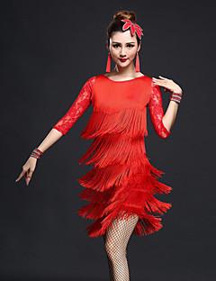 我々はラテンダンスの衣装をしなければならない女性のパフォーマンススパンデックスタッセル半袖スカートトップスショーツを落とした