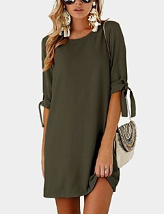 Women's Casual/Daily Simple Loose Dress,Solid Round Neck Above Knee Long Sleeves Rayon Polyester All Seasons Mid Rise Inelastic Thin