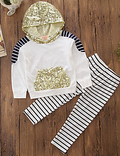 Girls' Stripe Embroidered Sets,Cotton Polyester Spring Fall Long Pant Clothing Set