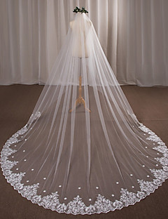 One Tier Wedding Veil Cathedral Veils With Applique Lace Tulle