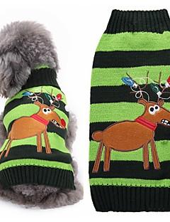 Katzen Hunde Pullover Hundekleidung Winter Rentier Niedlich Modisch Weihnachten Grün