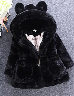 女の子 ソリッド フェイクファー 特殊毛皮タイプ ジャケット&コート 冬 長袖