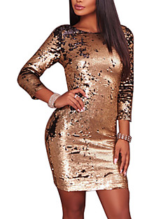 Women's Going out Club Casual Sexy Bodycon Dress,Color Block Round Neck Mini Long Sleeves Polyester Spring Fall Mid Rise Micro-elastic