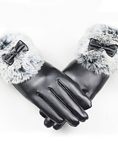 Women's Rabbit Fur PU Wrist Length Fingertips,Pure Accessories Casual Winter Gloves Windproof Keep Warm Waterproof Fashion Solid Winter
