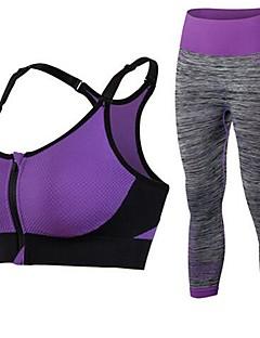 billige Løbetøj-Sports-BH m. tilhørende løbebukser Vatteret Let støtte Til Yoga - Rosa / Blå / Lilla Hurtigtørrende, Åndbarhed, Strækkende Dame / Elastisk