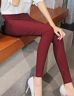 Women's Thin Solid Color Legging,Striped