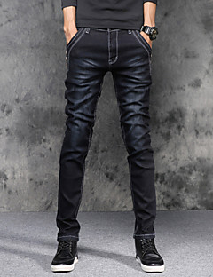 Men's Mid Rise Micro-elastic Skinny Slim Jeans Pants Solid Cotton Spandex All Seasons