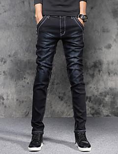 Pánské Mikro elastické Upnuté Džíny Kalhoty Štíhlý Mid Rise Jednobarevné