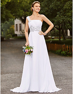 billiga A-linjeformade brudklänningar-A-linje Enaxlad Hovsläp Chiffong / Satäng Bröllopsklänningar tillverkade med Bård / Draperad av LAN TING BRIDE® / Öppen Rygg
