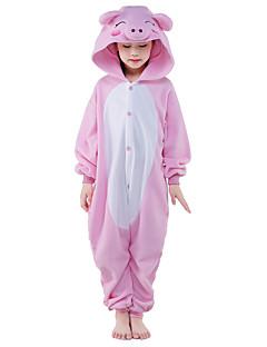 Kigurumi Pyjamas Porsas Kokopuku Yöpuvut Asu Polar Fleece Vaaleanpunainen Cosplay varten Lapset Animal Sleepwear Sarjakuva Halloween