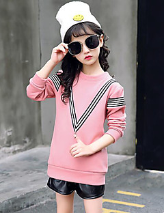 Girls' Striped Blouse,Rayon Winter Fall Long Sleeve Stripes Brown Blushing Pink Gray