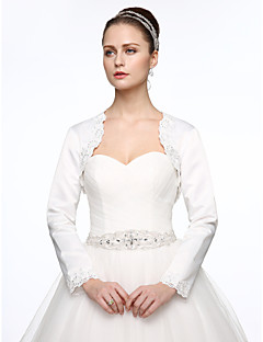 Satin Wedding   Party   Evening Women s Wrap With Beading   Appliques Shrugs 67733d9b8296