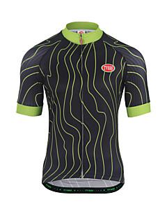 サイクリングジャージー 男性用 半袖 バイク トレーナー トップス 通気性 テリレン 縞柄 夏 ランニング マウンテンサイクリング レクリエーションサイクリング サイクリング 黒 / 緑