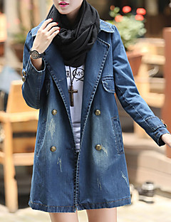 Women's Going out Simple Casual Winter Fall Denim Jacket,Solid Shirt Collar Long Sleeve Regular Polyester