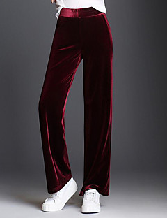 Women's High Rise Micro-elastic Straight Chinos Pants Solid Fall