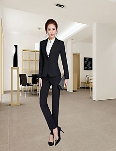 Women's Casual/Daily Simple Fall Winter Shirt Pant Suits,Solid Shirt Collar Long Sleeve Micro-elastic