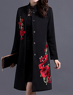 Women's Daily Vintage Fall Trench Coat,Solid Floral Print Round Neck Long Sleeve Long Cotton Polyester