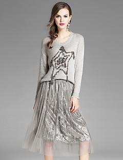 Damen Sterne Street Schick Ausgehen Lässig/Alltäglich Bluse Rock Anzüge,Rundhalsausschnitt Herbst Lange Ärmel Dehnbar