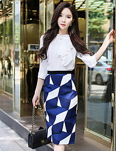 cheap Women's Skirts-Women's Work Going out Midi Skirts, Vintage Casual Street chic Pencil Bodycon Polyester Geometric Color Block Spring Fall