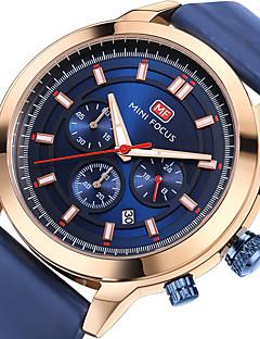 Herrn Sportuhr Modeuhr Armbanduhr Japanisch Quartz Kalender Stopuhr Nachts leuchtend Echtes Leder Band Bequem Luxuriös Cool Schwarz Blau