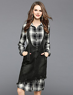 Women's Daily Going out Dresses&Skirts Fall Shirt Skirt Suits,Plaid/Check Shirt Collar Long Sleeve Cotton Polyester Inelastic